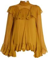 Chloé High-neck silk-crepon ruffle blouse