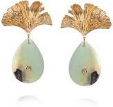 Gingko International Apples & Figs APPLES & FIGS 24k Vermeil Gold Leaf Amazonite Earrings