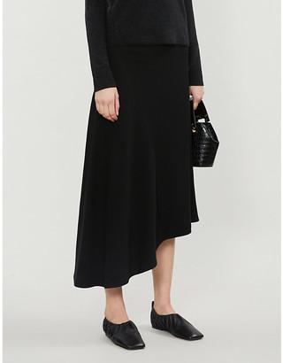 Vince Asymmetric silk-crepe midi skirt