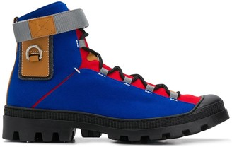 Loewe Colour-Blocked Lace-Up Ankle Boots