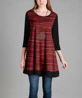 Aster Black & Red Scoop-Neck Swing Tunic - Plus - Plus Too