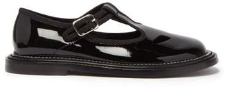 Burberry Alannis T Bar Patent Leather Mary Jane Flats - Womens - Black