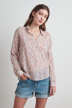 Velvet by Graham & Spencer Angelica Half-Placket Printed Top
