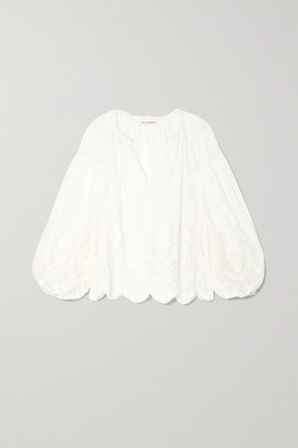 Ulla Johnson Harper Crochet-trimmed Embroidered Cotton-voile Blouse - White