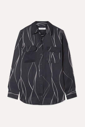 Equipment Slim Signature Printed Washed Silk-blend Shirt - Black
