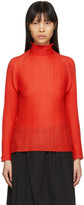 Issey Miyake Red Wooly Pleats Turtleneck