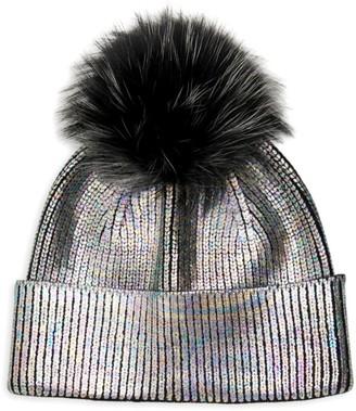 Adrienne Landau Fox Fur Pom-Pom Metallic Knit Hat