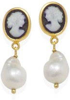 Vintouch Italy Black Mini Cameo & Pearl Earrings