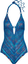 Missoni Mare reversible metallic crochet-knit halterneck swimsuit