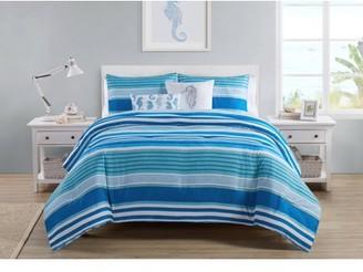 Vcny Home VCNY Home Brody Reversible Blue Stripe Comforter Set, King, Navy/White