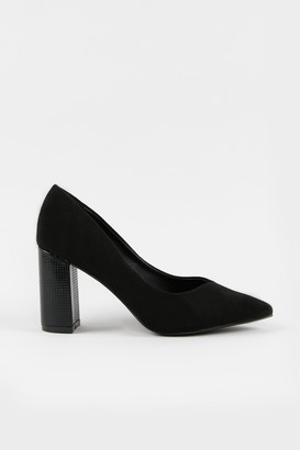 Wallis **WIDE FIT Black Block Heel Court Shoe