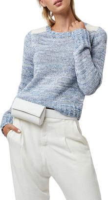 Diane von Furstenberg AS by Brayden Sweater with Leather Detail