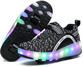 APTESOL Kids Girls Boys 7 Colors Flash LED Light Up Double Wheels Roller Shoes Skates Sneakers (,37)