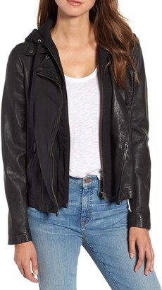 Caslon Leather Moto Jacket with Removable Hood