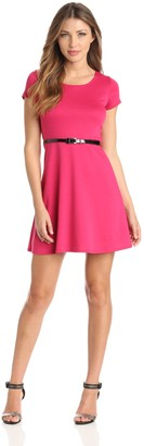 Star Vixen Women's Short Sleeve Belted Ponte Skater Dress