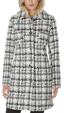 Laundry by Shelli Segal Single-Breasted Tweed Walker Coat