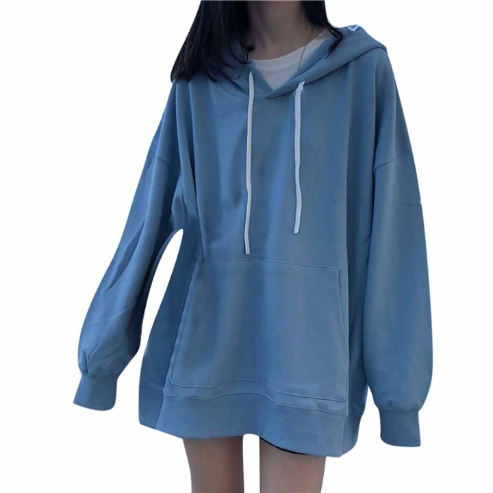 Gofodn Merry Christmas Tops for Women Pullover Hoodie Sweatshirt Plus Size Hooded Drawstring Long Sleeve Loose Blouse