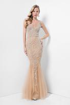 Terani Evening - Embellished V-Neck Crystal Nude Slim Gown 1711GL3556