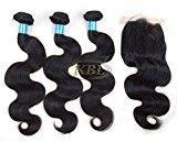 "KBL 7A 3 Bundles Brazilian Body Wave with 1 Piece 4*4 Silk Base Closure Free Part 180% Density 100% Unprocessed Brazilian Virgin Human Hair Extensions Natural Black (3*14"" hair weft+8"" lace closure)"