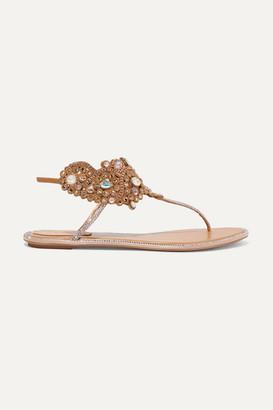 Rene Caovilla Crystal-embellished Leather Sandals - Beige