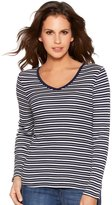 M&Co Long sleeve v-neck striped top