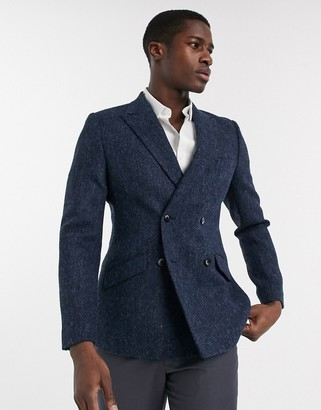 ASOS DESIGN slim double breasted blazer in navy herringbone Harris Tweed