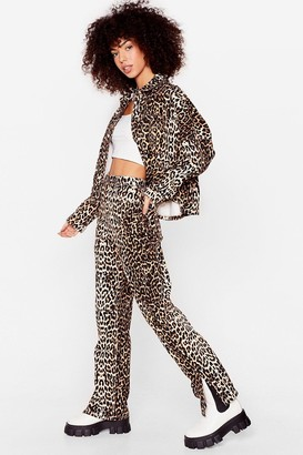 Nasty Gal Womens Wild At Heart Leopard Straight-Leg Jeans - Brown - 6