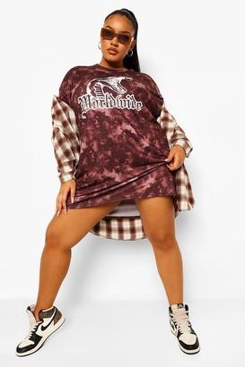 boohoo Plus Tie Dye Worldwide T-shirt Dress