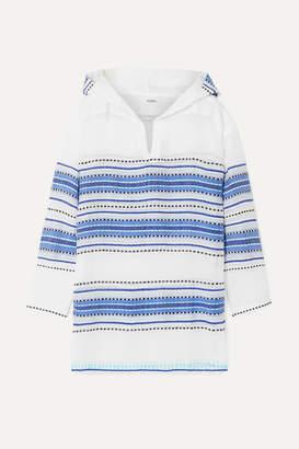 Lemlem Net Sustain Welela Fringed Striped Cotton-blend Gauze Hoodie - Blue