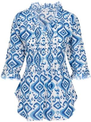 AtLAST Sophie Cotton Blouse Blue Ikat