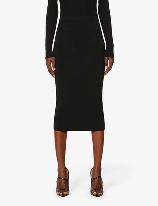 Wardrobe NYC Ribbed high-waist stretch-knit midi skirt