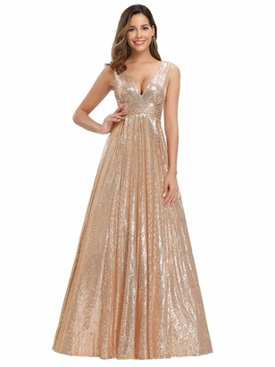 Ever Pretty Ever-Pretty Women's V Neck Floor Length Empire Wiast A Line Swing Sequin Prom Dresses Rose Gold 16UK