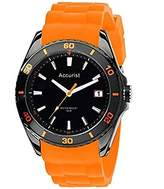 Accurist Men's Watch with Black Dial Display and Orange Silicone Strap MS761OB.01