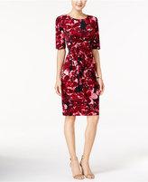 Connected Floral-Print Faux-Wrap Sheath Dress