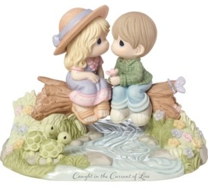 Precious Moments Limited Edition Caught In The Current Of Love Bisque Porcelain Figurine 183003