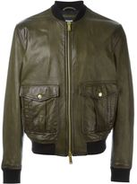 DSQUARED2 classic bomber jacket - men - Cotton/Calf Leather/Acrylic/Wool - 52