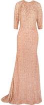 Lela Rose Metallic Fil Coupé Gown - Blush