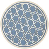 "Safavieh Courtyard Collection CY6916-243 Blue and Beige Indoor/ Outdoor Round Area Rug, 6 feet 7 inches in Diameter (6'7"" Diameter)"