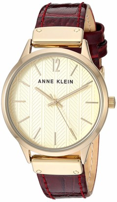Anne Klein Women's Gold-Tone and Burgundy Croco-Grain Leather Strap Watch AK/3550CHBY
