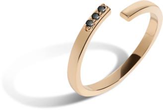 AUrate New York Mini Wraparound Ring with Black Diamonds
