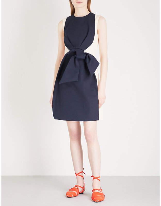 DELPOZO Bow-detail sleeveless cotton mini dress