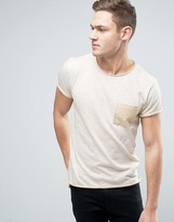 Jack and Jones Originals Marl T-Shirt With Contrast Pocket And Raw Edges
