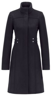 HUGO BOSS Virgin-wool-blend coat with hardware-trimmed belt