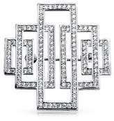 Bling Jewelry Pave Cz Bridal Art Deco Style Pendant Brooch Pin Rhodium Plated.