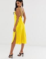 Asos Design DESIGN cami midi slip dress in high shine satin with strappy back