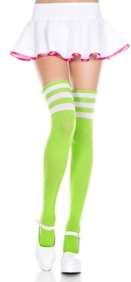 Music Legs Athlete acrylic thigh hi with striped top 4245-WHITE/NEON PINK