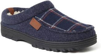 Dearfoams Men's Woven Plaid & Microwool Clog Slippers - Wyatt