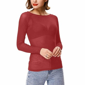 KPILP Women's Mesh Sexy Transparent Mesh Shirt with Shine Top Long Sleeve Tulle Mesh Blouse Body T-Shirt Tunic Tops Soft Stretch Mardi Gras Party Top Striped Crop Top(Red XXL)