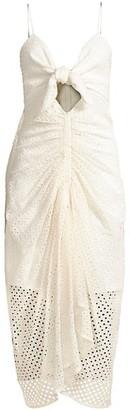 Significant Other Malia Draped Eyelet Midi Dress
