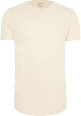 River Island Mens Big & Tall ecru longline slim fit t-shirt